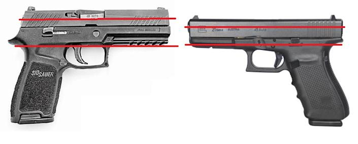a picture of the SIGP320 and Glock21 with bore axis lines