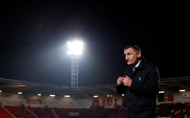 "Soccer Football - League One - Doncaster Rovers v Blackburn Rovers - Keepmoat Stadium, Doncaster, Britain - April 24, 2018 Blackburn Rovers manager Tony Mowbray after the match Action Images/Lee Smith EDITORIAL USE ONLY. No use with unauthorized audio, video, data, fixture lists, club/league logos or ""live"" services. Online in-match use limited to 75 images, no video emulation. No use in betting, games or single club/league/player publications. Please contact your account representative for further details."