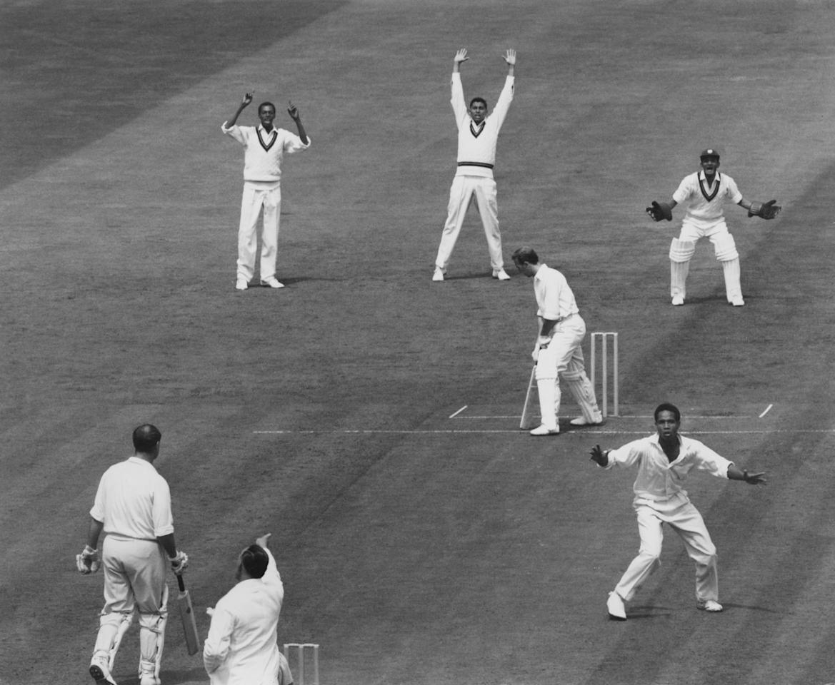 After an appeal, England batsman Micky Stewart is out LBW for 39 off Gary Sobers of the West Indies, during the Third Test at Edgbaston, Birmingham, 4th July 1963. (Photo by Central Press/Hulton Archive/Getty Images)