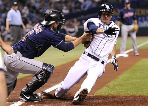Cleveland Indians catcher Lou Marson, left, tags out Tampa Bay Rays' Matt Joyce at home after Joyce tagged up and attempted to score on a fly ball to end the first inning of a baseball game on Saturday, April 6, 2013, in St. Petersburg, Fla. (AP Photo/Brian Blanco)