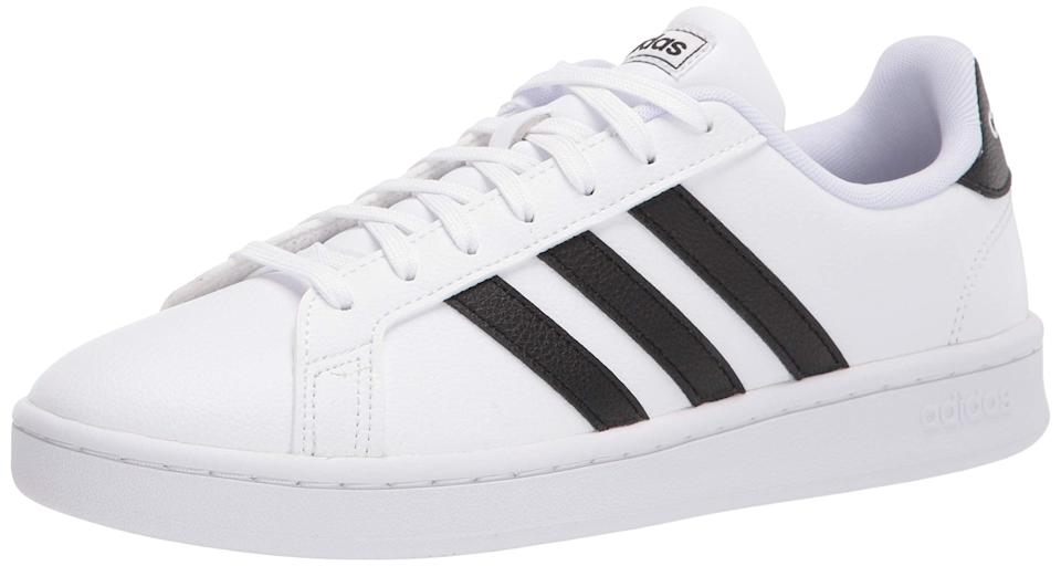 """<h2>Up to 40% off adidas</h2><br>The cult-creator of the legendary Stan Smiths has a selection of its lineup of on-trend athleisure wear marked down for the Prime Day occasion — surf around to snag various sneaker styles for up to 40% off. <br><br><em>Shop adidas at <strong><a href=""""https://amzn.to/3xxOnV8"""" rel=""""nofollow noopener"""" target=""""_blank"""" data-ylk=""""slk:Amazon"""" class=""""link rapid-noclick-resp"""">Amazon</a></strong></em><br><br><strong>Adidas</strong> Grand Court Sneaker, $, available at <a href=""""https://amzn.to/2TSwfXo"""" rel=""""nofollow noopener"""" target=""""_blank"""" data-ylk=""""slk:Amazon"""" class=""""link rapid-noclick-resp"""">Amazon</a>"""