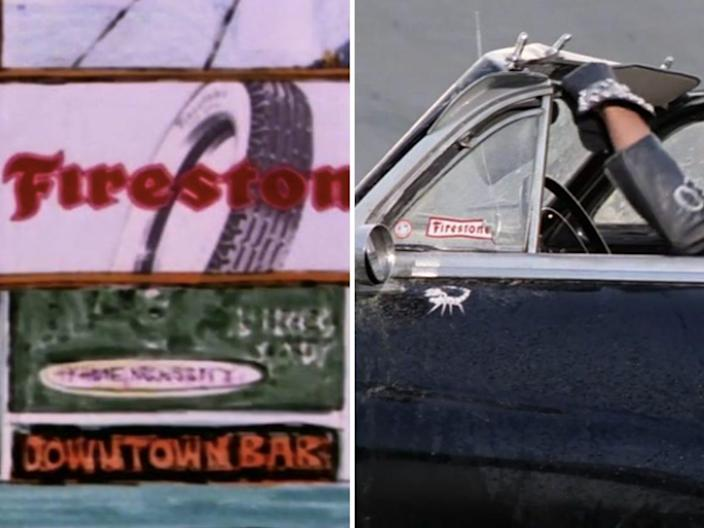 firestone billboards and logos in grease