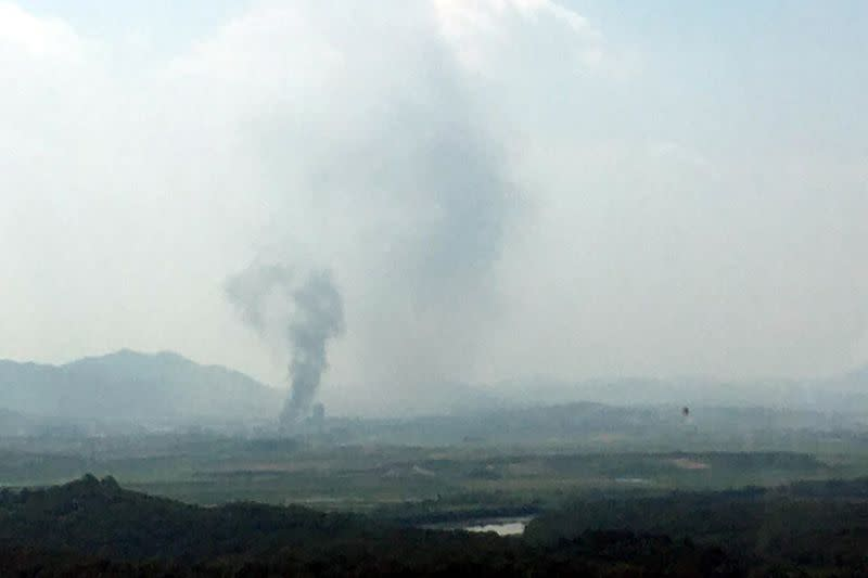 A smoke rises from Kaesong Industrial Complex in this picture taken from the south side in Paju