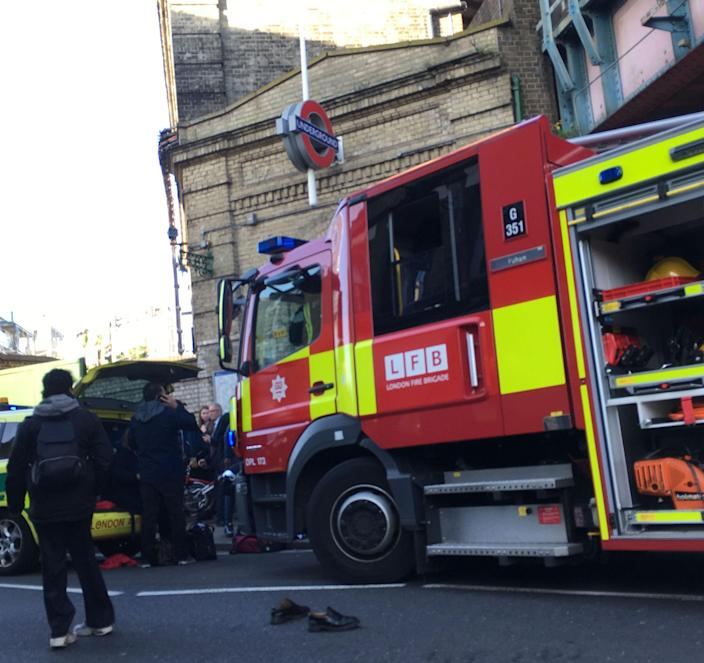 <em>Reaction – emergency services raced to the scene after the explosion just after 8am (Picture: Richard Aylmer-Hall/PA Wire)</em>