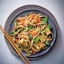 <p>Crisp-tender veggies cooked in a sweet Asian sauce and served with noodles and tofu is a refreshingly different slow cooker dinner. Removing the excess moisture from the tofu helps it soak up the sauce, giving the unassuming ingredient full flavor.</p>