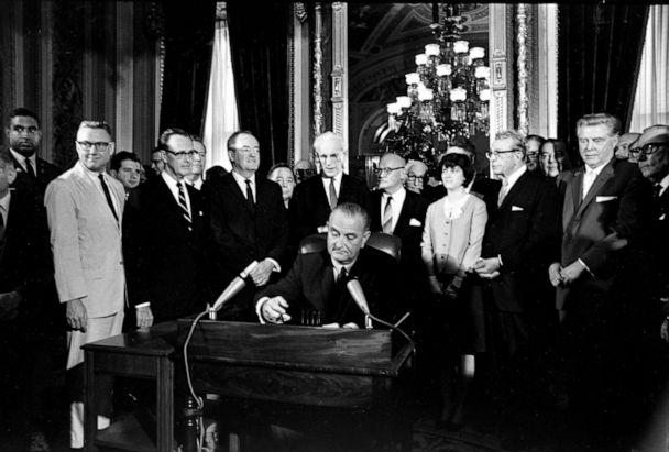 PHOTO:President Lyndon Baines Johnson signs the Voting Rights Act of 1965, Aug. 6, 1965. (AP)
