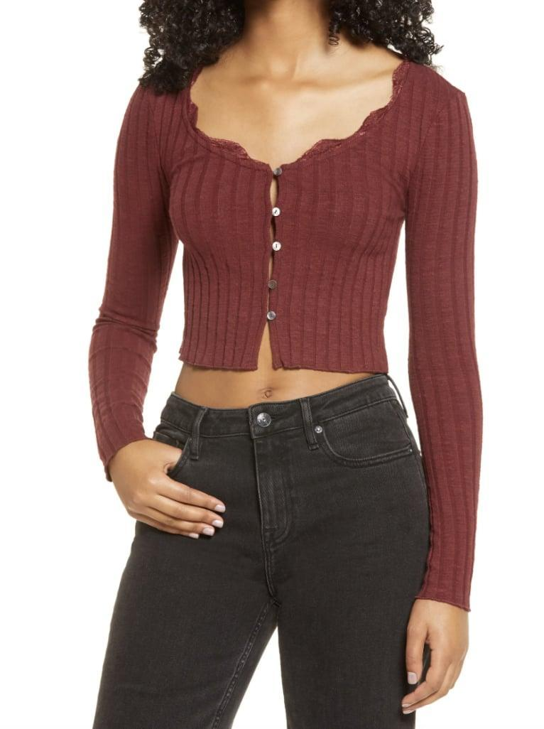 <p>The lace details on this <span>BP. Ribbed Crop Cardigan</span> ($29) are so pretty.</p>