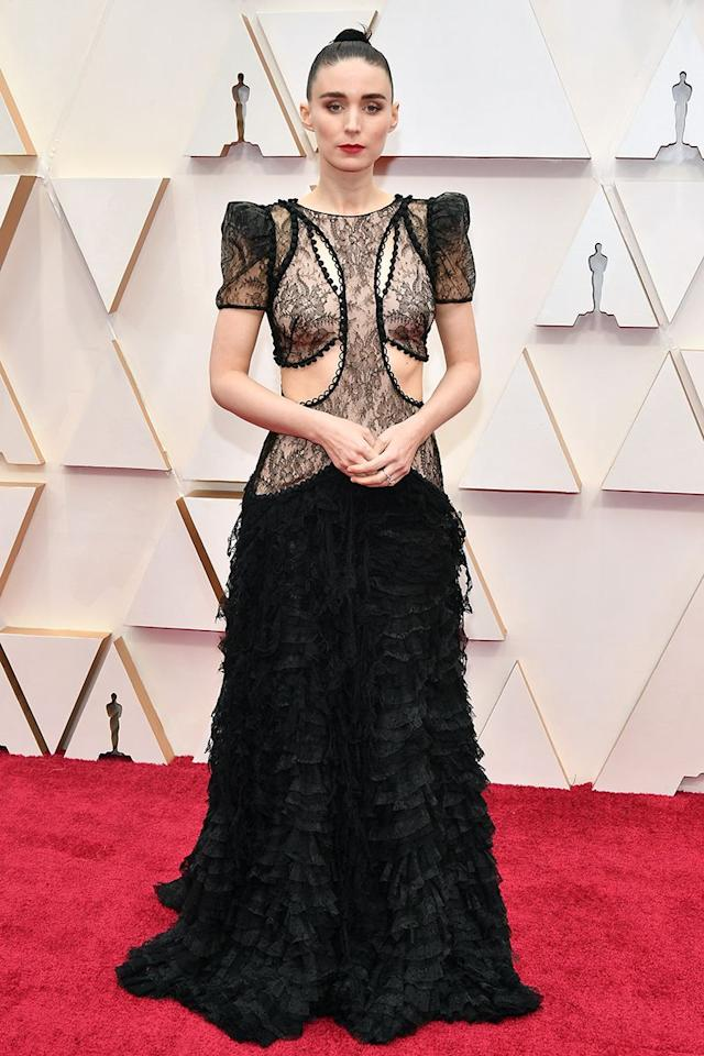 <p>Rooney Mara goes all-out with everything from the hip-up on her dress made from sheer lace. Talk about fearless!</p>