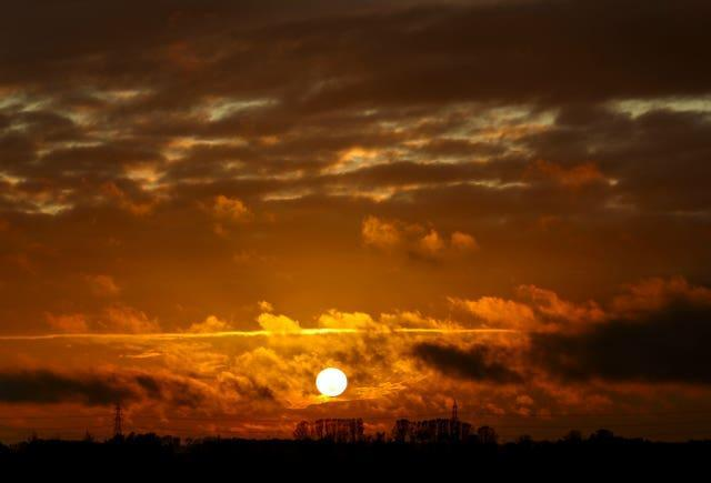 The sun sets over the Fens