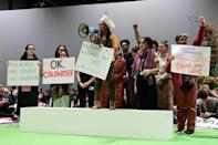 Protestors denounced a lack of concrete action from nations at COP25 (AFP Photo/CRISTINA QUICLER)
