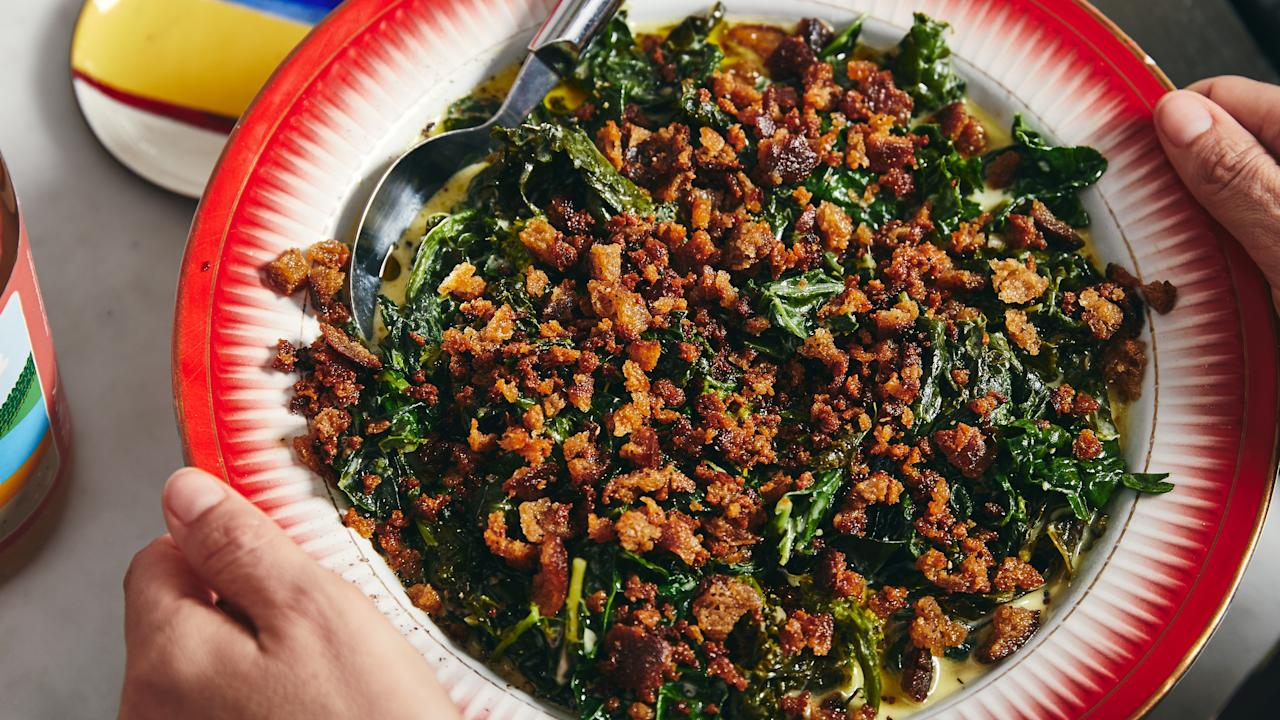 """The key to these greens lies in the heavy cream mixture, which should be gloriously rich, salty, and extremely garlicky. Oh, and stirring in a little crème fraîche at the end. This is one of the sides from Alison Roman's """"Steak House Night in America"""" menu, alongside: <a href=""""https://www.bonappetit.com/recipe/martini-bar?mbid=synd_yahoo_rss"""">Martini Bar</a>, <a href=""""https://www.bonappetit.com/recipe/low-and-slow-rib-roast?mbid=synd_yahoo_rss"""">Low-and-Slow Rib Roast</a>, <a href=""""https://www.bonappetit.com/recipe/baked-potatoes-deluxe?mbid=synd_yahoo_rss"""">Baked Potatoes Deluxe</a>, and <a href=""""https://www.bonappetit.com/recipe/upside-down-apricot-tart?mbid=synd_yahoo_rss"""">Upside-Down Apricot Tart</a>. <a href=""""https://www.bonappetit.com/recipe/the-greatest-creamed-greens?mbid=synd_yahoo_rss"""">See recipe.</a>"""