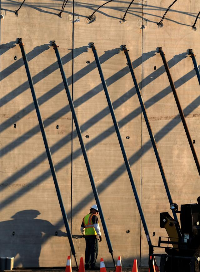 <p>Picture of a prototype of US President Donald Trump's US-Mexico border wall being built near San Diego, in the US, as seen from across the border from Tijuana, Mexico, on Oct. 5, 2017. (Photo: Guillermo Arias/AFP/Getty Images) </p>