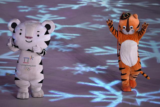 <p>PyeongChang 2018 mascots dance during the Closing Ceremony of the PyeongChang 2018 Winter Olympic Games at PyeongChang Olympic Stadium on February 25, 2018 in Pyeongchang-gun, South Korea. (Photo by David Ramos/Getty Images) </p>