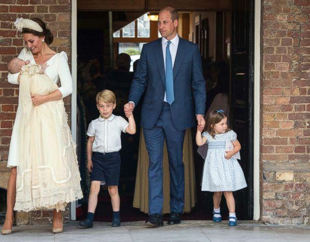 PHOTO: Duchess of Cambridge, Kate and Britain's Prince William with their children Prince George, Princess Charlotte and Prince Louis as they arrive for Prince Louis' christening service at the Chapel Royal, St James's Palace, London, July 9, 2018. (Dominic Lipinski/Pool Photo via AP)