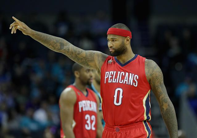 "<a class=""link rapid-noclick-resp"" href=""/nba/players/4720/"" data-ylk=""slk:DeMarcus Cousins"">DeMarcus Cousins</a> unfollowed the <a class=""link rapid-noclick-resp"" href=""/nba/teams/nor"" data-ylk=""slk:New Orleans Pelicans"">New Orleans Pelicans</a> on Instagram. When asked why, he replied, ""cause I'm grown."" (Streeter Lecka/Getty Images)"