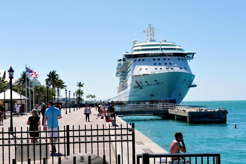 A Royal Caribbean cruise ship is docked at the Port of Key in Key West in 2016.