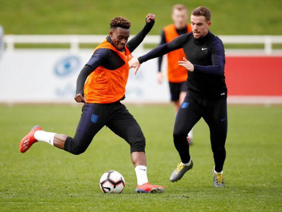England's Callum Hudson-Odoi with Jordan Henderson during training (Action Images via Reuters)