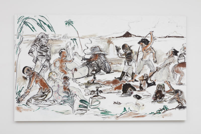 "Kara Walker, ""Brand X (Slave Market Painting),"" 2017. Oil stick on canvas, 125 by 127.5 inches. (Kara Walker courtesy of Sikkema Jenkins Co New York)"
