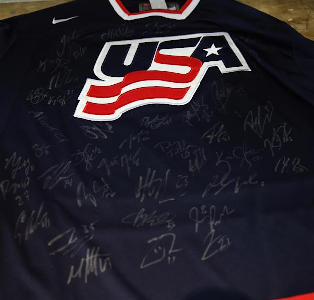 ARLINGTON, VA - AUGUST 27: Jerseys bearing participant names are laid out for autographs following a press conference introducing the 2014 USA Hockey Olympic Team candidates at the Kettler Capitals Iceplex on August 27, 2013 in Arlington, Virginia. (Photo by Bruce Bennett/Getty Images)