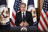 """Secretary of State Antony Blinken speaks about the release of the State Department's annual """"Trafficking in Persons"""" report Wednesday, July 1, 2021, in Washington. The Biden administration on Thursday designated 17 countries as not doing enough to combat human trafficking and warned them of potential U.S. sanctions. (Ken Cedeno/Pool via AP)"""