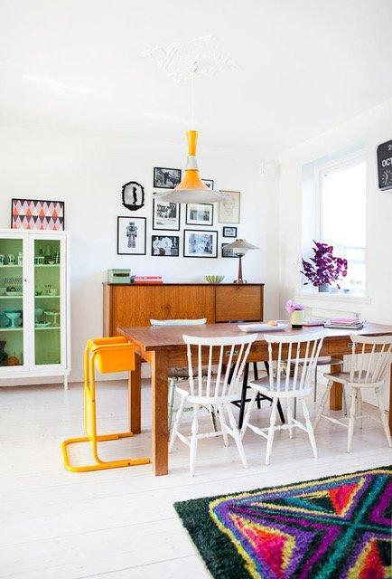 Bold colors and furniture pieces give this dining room a character that's entirely its own.