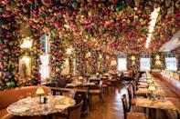 """<p>Almost every inch of the walls and ceiling of 34 Mayfair have been adorned with an installation of 14,000 brightly coloured baubles to mark the start of the festive season. The floral designer Jane Wadham has used gold pine cones and glass icicles alongside bright jewel tones of magenta, emerald green, electric blue and saffron to envelop the restaurant, providing a magical setting for any occasion. While there, sip a glass of Nyetimber (which has partnered with the restaurant to launch the installation) and dine on delicious cuisine, including a Japanese wagyu fillet steak, white truffle and fontina Pizza, and Peking duck with pancakes, as well as a set menu including autumnal favourites such as roast pumpkin soup, and rotisserie chicken with truffle mash. </p><p><a href=""""https://34-restaurant.co.uk/miracle-at-34/"""" rel=""""nofollow noopener"""" target=""""_blank"""" data-ylk=""""slk:34 Mayfair"""" class=""""link rapid-noclick-resp"""">34 Mayfair</a>, 34 Grosvenor Square, S Audley St, London W1.</p>"""