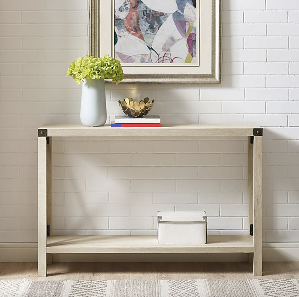 white wood Forest Gate Englewood Entryway Table on white brick background