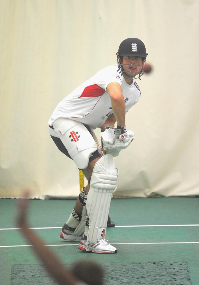 MANCHESTER, ENGLAND - JULY 31:  England batsman Alastair Cook in action during an England nets ahead of the third ashes test match at Old Trafford on July 31, 2013 in Manchester, England.  (Photo by Stu Forster/Getty Images)