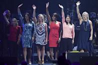 <p>Kerri Strug, Dominique Moceanu, Jaycie Phelps, Dominique Dawes, Amy Chow and Amanda Borden reunited in 2016 for the Parade of Olympians Celebration. We still celebrate all of their accomplishments 20 years later. (Reuters) </p>