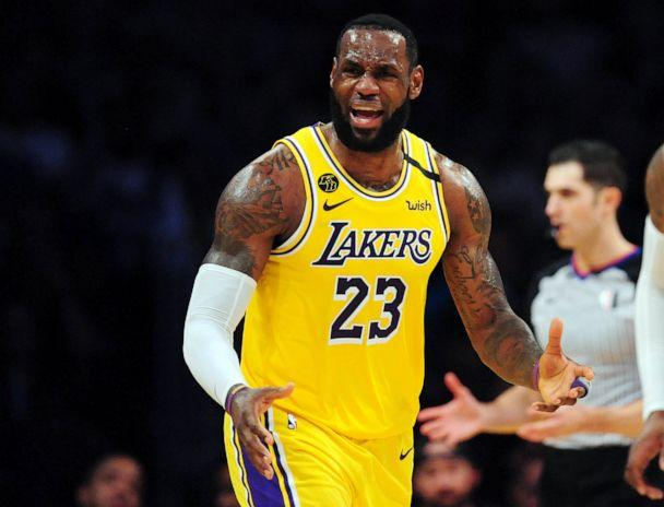 PHOTO: March 6, 2020; Los Angeles, California, USA; Los Angeles Lakers forward LeBron James (23) reacts against the Milwaukee Bucks during the second half at Staples Center. (Gary A. Vasquez/USA TODAY Sports)