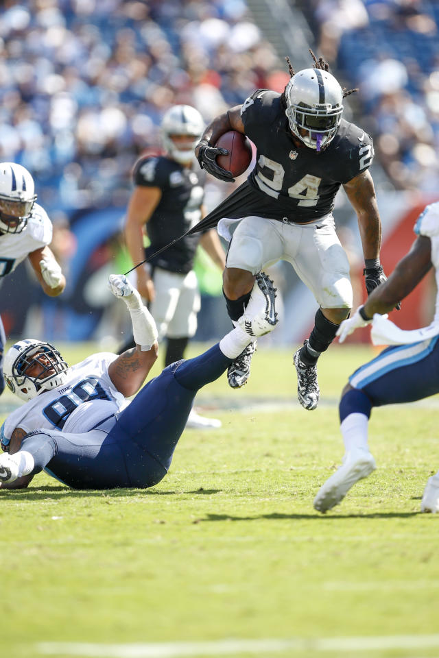 <p>Running Back Marshawn Lynch #24 of the Oakland Raiders runs the ball against the Tennessee Titans in the second half at Nissan Stadium on September 10, 2017 In Nashville, Tennessee. (Photo by Wesley Hitt/Getty Images) </p>
