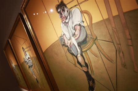 Artist Francis Bacon's 'Three Studies of Lucian Freud' is seen during a press preview at Christie's Auction House in New York, October 31, 2013. REUTERS/Shannon Stapleton