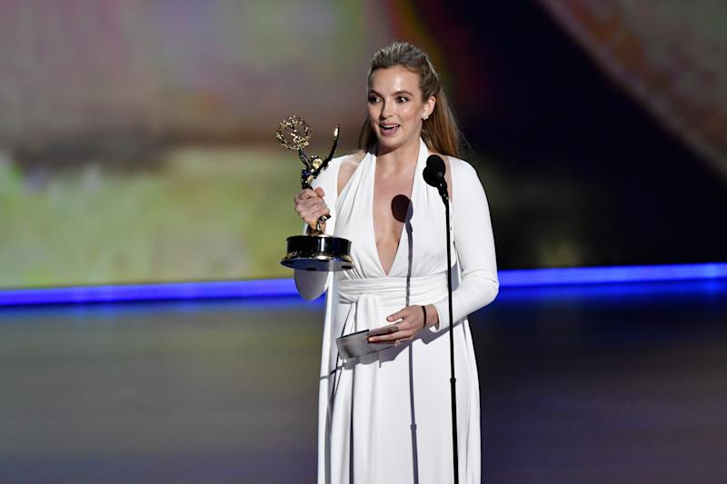 Jodie Comer accepts the award for lead actress in a drama series for her role in