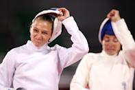 <p>Marie Oteiza of Team France reacts following her bout with Leidis Laura Moya of Team Cuba during the Fencing Ranked Round of the Women's Modern Pentathlon on day thirteen of the Tokyo 2020 Olympic Games at Musashino Forest Sport Plaza on August 05, 2021 in Chofu, Japan. (Photo by Leon Neal/Getty Images)</p>