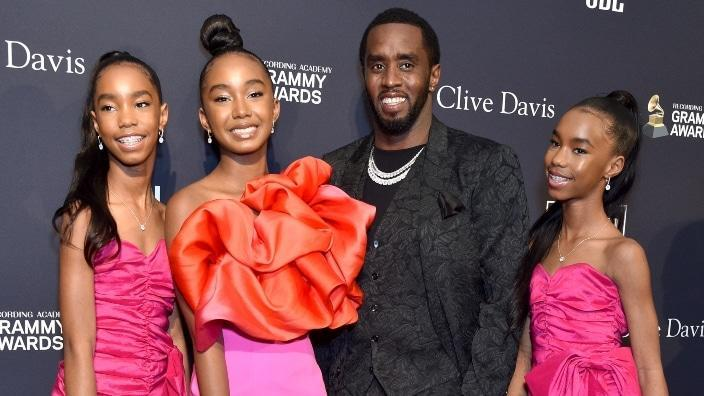 (From left) D'Lila Star Combs, Chance Combs, their father Sean Combs and sister Jessie James Combs attend the January 2020 pre-GRAMMY Gala and salute to the hip-hop mogul in Beverly Hills. (Photo by Gregg DeGuire/Getty Images for The Recording Academy)