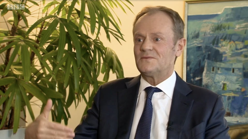 Donald Tusk on the BBC's Andrew Marr Show on Sunday (BBC)