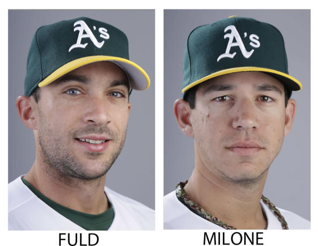 FILE - These are 2014 file photos showing then-Oakland Athletics baseball player Sam Fuld and Athletics Tommy Milone. The Athletics have traded left-hander Milone to the Minnesota Twins for outfielder Sam Fuld. The A's announced the deal Thursday morning, July 31, 2014, before the trade deadline. Fuld began the season with Oakland. (AP Photo/File)