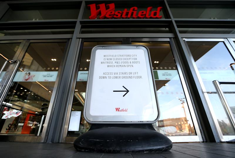 LONDON, ENGLAND - APRIL 07: A sign outside the Westfield Stratford Shopping Centre shows it's closure on April 07, 2020 in London, England. There have been around 50,000 reported cases of the COVID-19 coronavirus in the United Kingdom and 5,000 deaths. The country is in its third week of lockdown measures aimed at slowing the spread of the virus. (Photo by Alex Pantling/Getty Images)