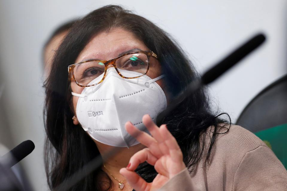 Employee of the Ministry of Health, Regina Celia Silva Oliveira attends a meeting of the Parliamentary Inquiry Committee (CPI) to investigate government actions and management during the coronavirus disease (COVID-19) pandemic, at the Federal Senate in Brasilia, Brazil July 6, 2021. REUTERS/Adriano Machado