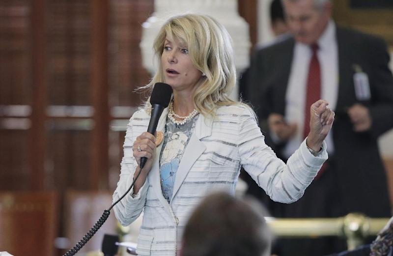 File - In this June 25, 2013 file photo, Sen. Wendy Davis, D-Fort Worth, speaks as she begins a filibuster in an effort to kill an abortion bill, in Austin, Texas. Davis is expected to announce her bid for Texas governor on Thursday, Oct. 3 2013. When she does, she'll be speaking not only to Texans but also national Democratic fundraisers she'll need to compete in the predominantly Republican state. (AP Photo/Eric Gay, File)