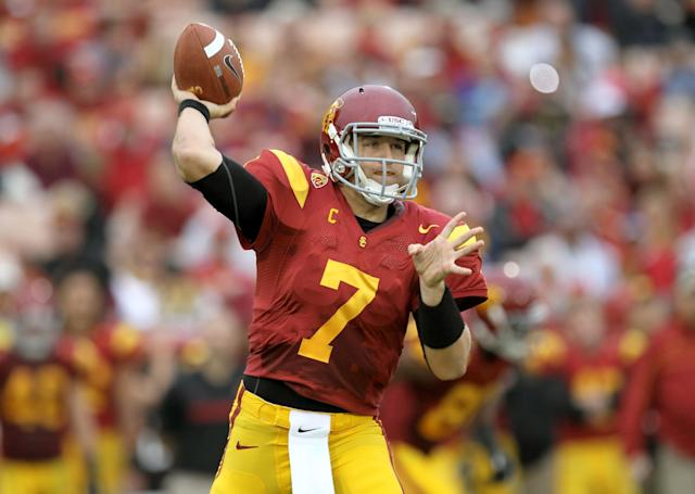 LOS ANGELES, CA - NOVEMBER 12: Quarterback Matt Barkley #7 of the USC Trojans throws a pass against the Washington Huskies at the Los Angeles Memorial Coliseum on November 12, 2011 in Los Angeles, California. (Photo by Stephen Dunn/Getty Images)
