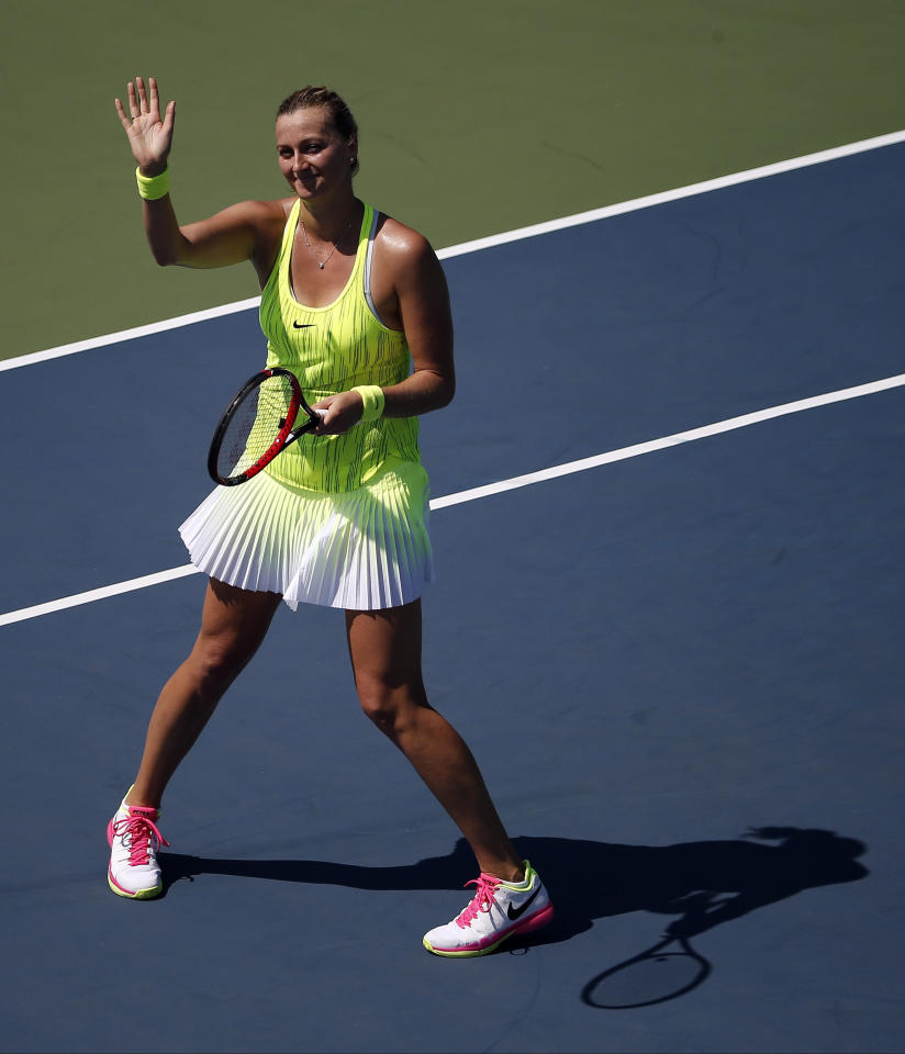 Petra Kvitova, of the Czech Republic, waves to fans after defeating Jelena Ostapenko, of Latvia, during the first round of the U.S. Open tennis tournament, Monday, Aug. 29, 2016, in New York. (AP Photo/Andres Kudacki)