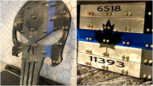 The Windsor Police Services Board was asked to license its logo to be used on wooden challenge coin display cases, some of which have the controversial Thin Blue Line or are shaped like the Punisher. (Etsy - image credit)