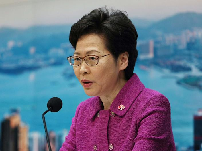 Hong Kong's chief executive Carrie Lam speaking on the new national security law: EPA