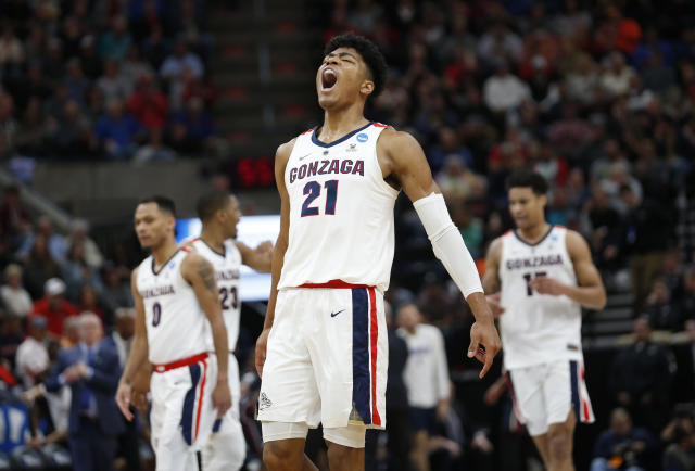 Gonzaga forward Rui Hachimura (21) celebrates after Gonzaga scored against Fairleigh Dickinson during the first half of a first-round game in the NCAA mens college basketball tournament Thursday, March 21, 2019, in Salt Lake City. (AP Photo/Rick Bowmer)