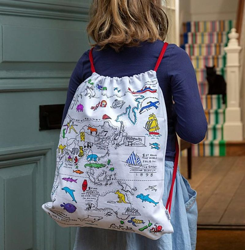 "Learn geography and world facts on this backpack kids can colour themselves, then use it to store all their treasures. Get it at <a href=""https://www.uncommongoods.com/product/world-map-coloring-backpack"" target=""_blank"" rel=""noopener noreferrer"">Uncommon Goods</a> for $26.50."