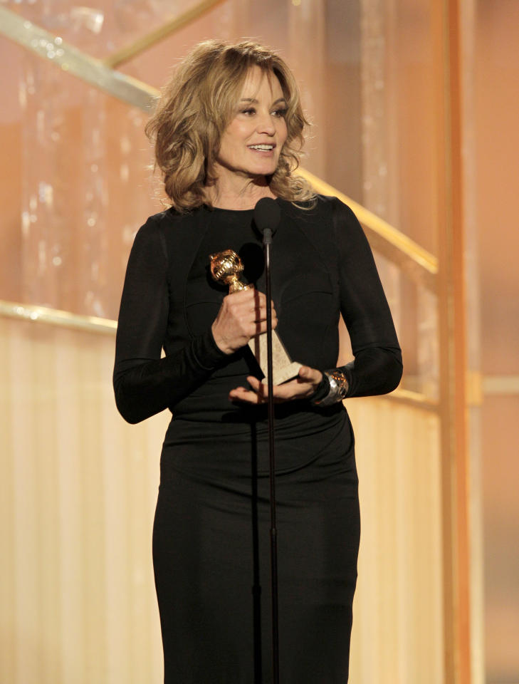 Jessica Lange accepts the award for Best Supporting Actress - Series/Mini-Series/TV Movie onstage during the 69th Annual Golden Globe Awards in Beverly Hills, California, on January 15, 2012. (Photo by Paul Drinkwater/NBC via Getty Images)