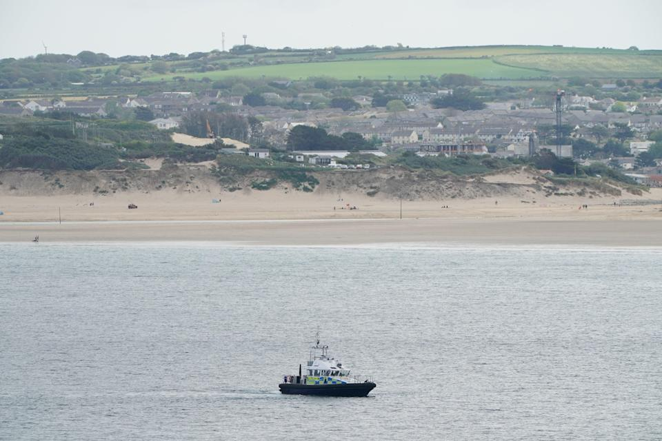 A police patrol boat at Carbis Bay, Cornwall, ahead of the G7 summit (PA)