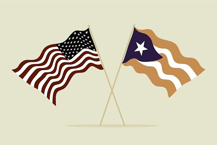 """<span class=""""caption"""">As an unincorporated U.S. territory, Puerto Rico has fewer constitutional and political rights than a state.</span> <span class=""""attribution""""><a class=""""link rapid-noclick-resp"""" href=""""https://www.gettyimages.com/detail/illustration/flags-usa-and-puerto-rico-together-a-symbol-royalty-free-illustration/1279603117?adppopup=true"""" rel=""""nofollow noopener"""" target=""""_blank"""" data-ylk=""""slk:ankmsn/Getty"""">ankmsn/Getty</a></span>"""
