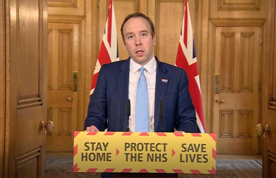 Screen grab of Health Secretary Matt Hancock who has tested positive for coronavirus, answering questions from the media via a video link during a media briefing in Downing Street, London, on coronavirus (COVID-19). (Photo by PA Video/PA Images via Getty Images)